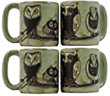 Set of 4 MARA STONEWARE COLLECTION - 16 Oz. Coffee Cup Collectible Dinner Mugs with Free Stacking Mug Post - Mexican Pottery - Owl Bird Design
