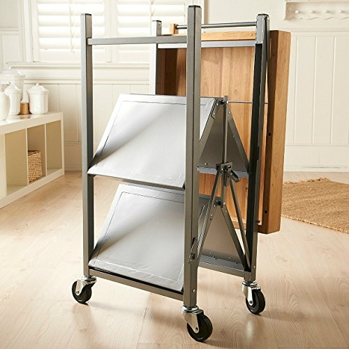 Origami Foldable Rolling Kitchen Island Cart, Food Serving Cart, 3-Tier Storage Shelf with Wood Top, Microwave Stand, Heavy Duty, Silver by Origami (Image #3)