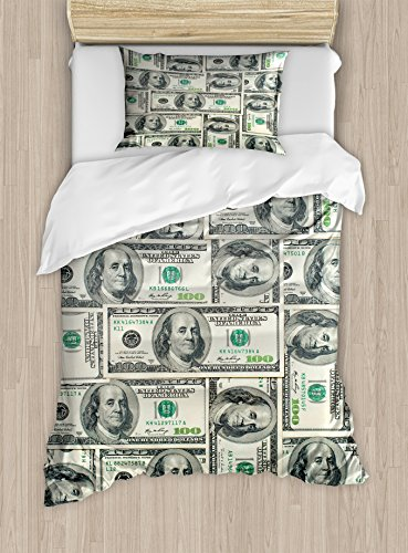 Ambesonne Money Twin Size Duvet Cover Set, Dollar Bills of United States Federal Reserve with The Portrait of Ben Franklin, Decorative 2 Piece Bedding Set with 1 Pillow Sham, Pale Green Grey - Reserve Set
