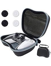 حقيبة لحزمة إكسسوارات تحكم بلاي ستيشن 5، طقم إكسسوارات 6 في 1 لجهاز تحكم بلاي ستيشن 5 مع جراب صلب للحمل للسفر، جراب غطاء واقٍ شفاف، أغطية قبضة الإبهام