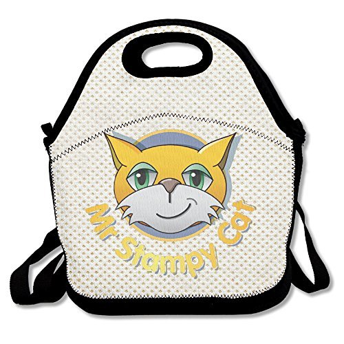 Copdsa Stampy Cat Face Logo Insulated Personalized Tote Lunch Food Bag Black