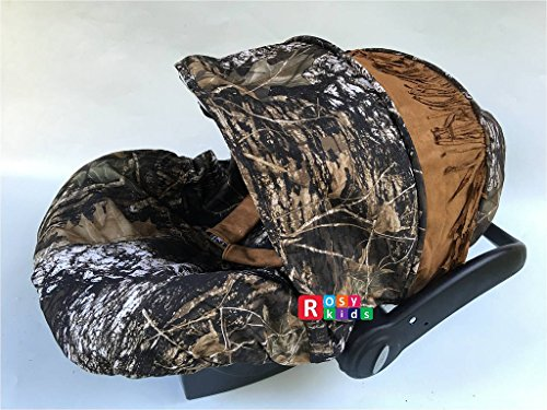 Rosy Kids Infant Carseat Canopy Cover 3pc Whole Caboodle, Baby Car Seat Cover Outdoor Kit, Oak Tree Camouflage Faux Suede Tassel