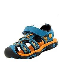 Unisex Kids Boys Girls Closed Toe Sport Sandals Soft Leather Beach Flat Shoes