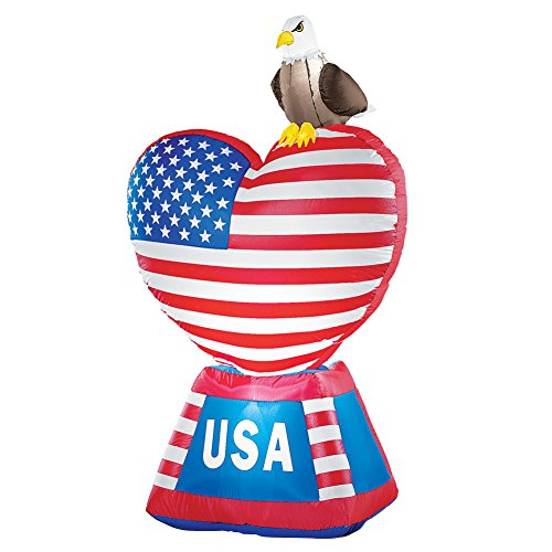 Patriotic Flag Heart 4th of July Outdoor Inflatable Decoration with Light, 5' Tall ()
