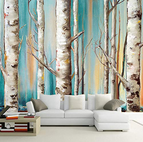 3D Decorations Stickers Murals Wall Wallpaper Modern White Birch Trees Sofa Backdrop Living Room Bedroom Art Girls Tv (W)400X(H)280Cm