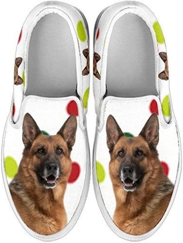 Kid's Slip Ons-All Dog Print Slip-Ons Shoes for Kids (Choose Your Breed) (11.5 Child (EU29), German Shepherd)