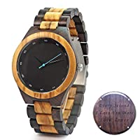 Custom Men's Wood Watch Engraved Watches for Him - Gift for Boyfriend Husband Fathers - Groomsmen Gift