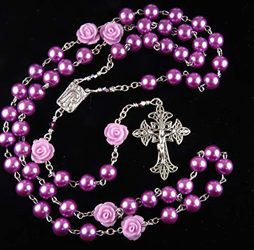 - Handmade Catholic Rosary Purple Glass Pearls and Acrylic Roses with Swarovski Crystals and Silver Tone Crucifix