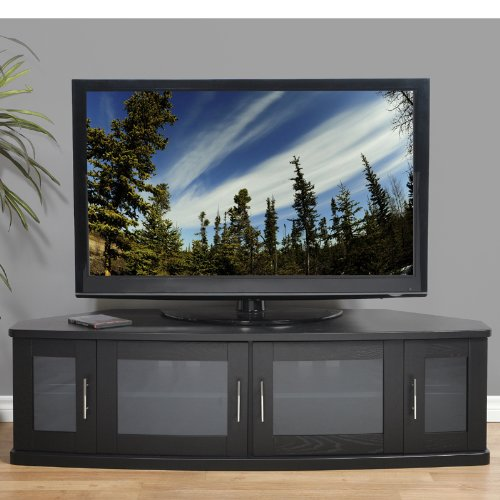Plateau Newport 62 B Corner Wood TV Stand, 62-Inch, Black Oak ()