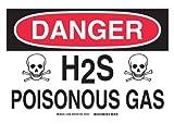 """Brady 15298 Aluminum, 10"""" X 14"""" Danger Sign Legend, """"H2S Poisonous Gas (W/Picto)"""""""