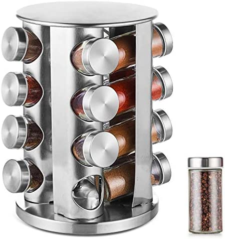 DEFWAY Spice Rack Organizer for Countertop – Stainless Steel Spice Organizer with 16 Seasoning Jars, Large Standing Cabinet Seasoning Tower for Kitchen Round