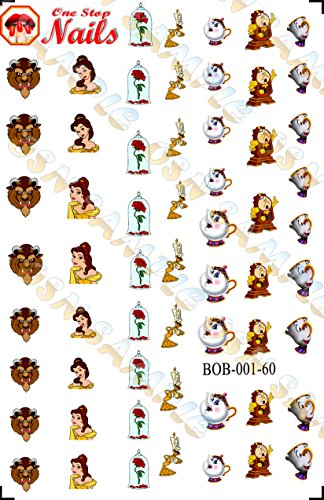 Disney Beauty and the Beast Clear waterslide nail decals (Tattoo). Set of 60.