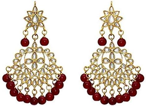 with Maang Tikka for Women Girls Aheli Kundan Beaded Choker Necklace Set//Jewellery Set Red