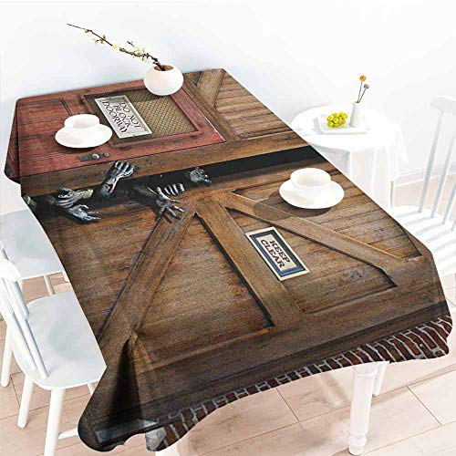 familytaste Zombie,Table Cloth Printed Monsters Behind Wooden Door Demon Halloween Holiday Fear Fantasy Picture 60