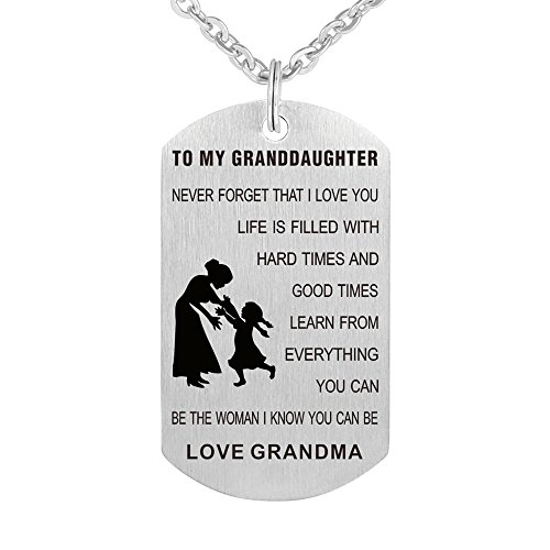 Kisseason Grandma Grandpa to My Granddaughter Dog Tag Gift Jewelry Pendant Necklace Keychain Military Army Dog Tag