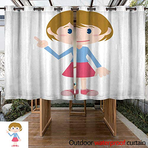 (RenteriaDecor Outdoor Ultraviolet Protective Curtains Young Girl Cartoon Character Pointing Hand Sign Clip Art W63 x)