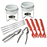 Crabaholik Seafood Tools Set: Ultimate Crab Utensils Set of 2 Lobster Crackers + 2 Ceramic Butter Warmers + 4 Lobster Knives + 4 Crab Forks| Stylish & Heavy-Duty Seafood Lovers