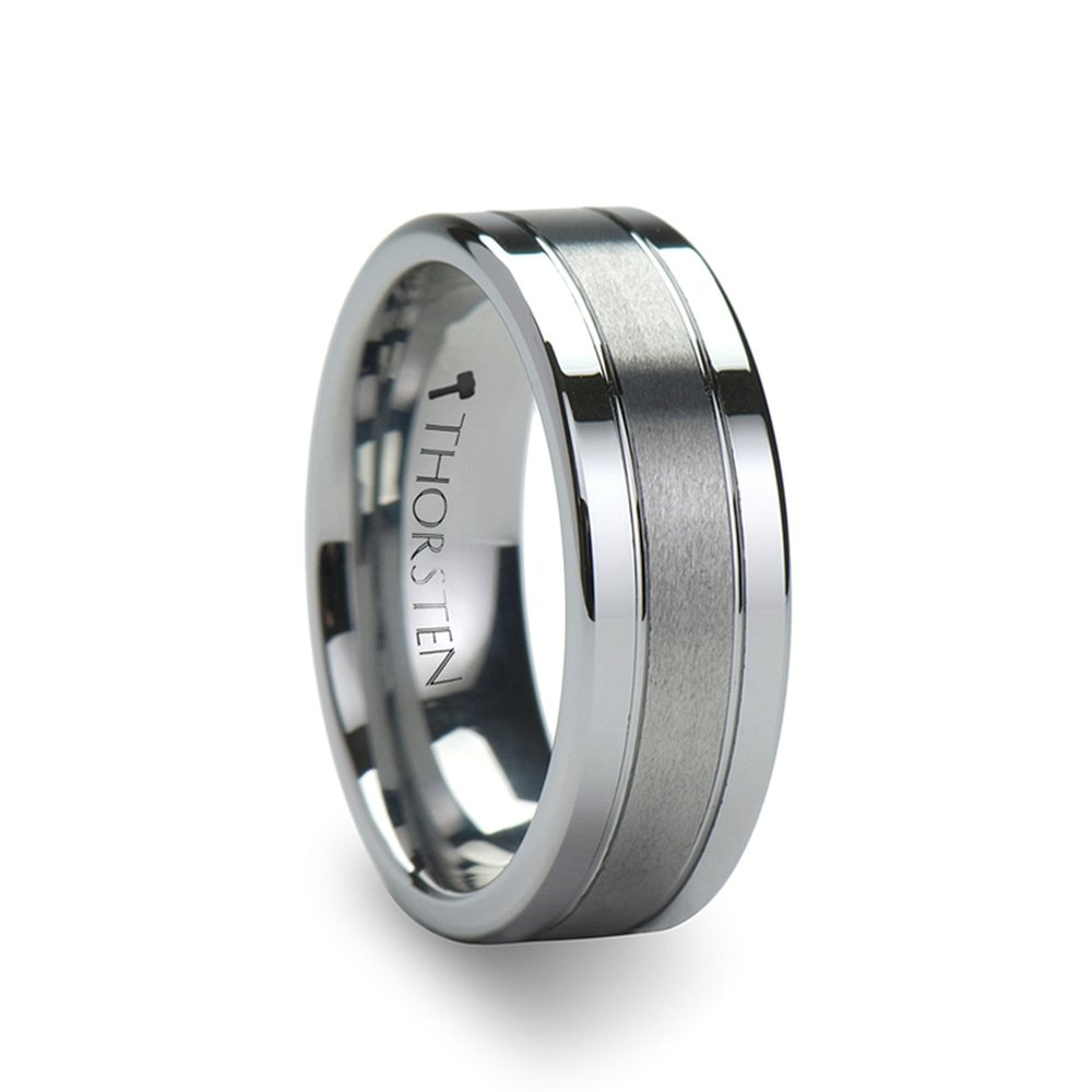 CHRONOS Flat with Grooves Polished Edges and Brush Center Tungsten Carbide Ring - 8mm