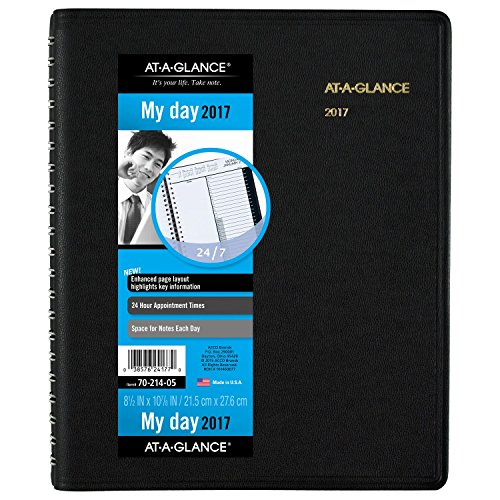 AT-A-GLANCE Daily Appointment Book / Planner 2017, Wirebound, 24-Hour, 8-1/2 x 10-7/8