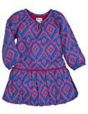 Hatley Little Girls' Pom Pom Dress Ikat, Blue, 4T