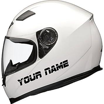2 x personalised motorbike bike motorcycle scooter crash helmet vinyl name stickers by ellis graphix