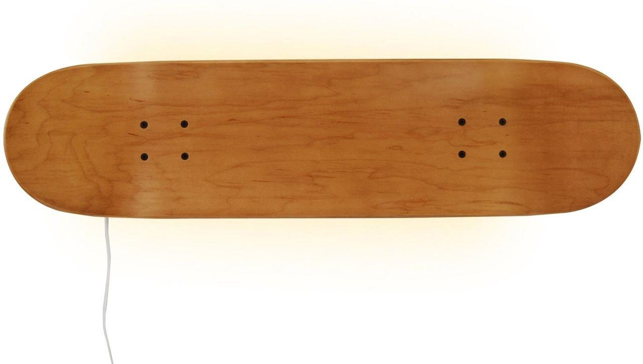 Casper Skateboard themed Leds Wall Lamp, natural wood color. Light, Home Decor for Bedroom Sports Fan Children's. Honey