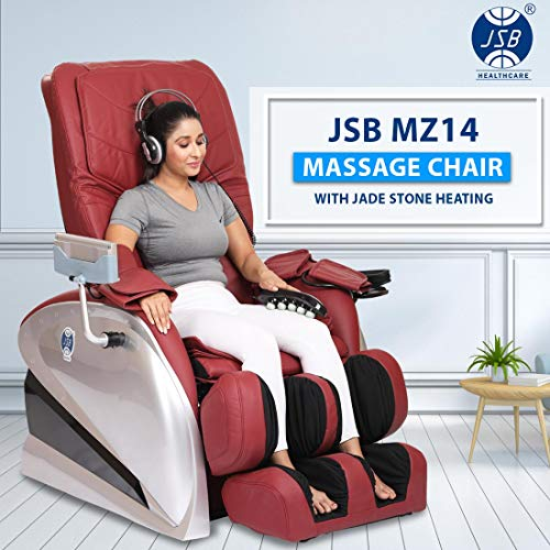 JSB MZ14 Zero Gravity Recliner Massage Chair for Home Stress Relief with Jade Stone Deep Muscle Relaxing Heating (Red)