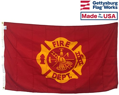 3x5' Fire Department Maltese Cross Flag, Durable All-Weather Nylon with grommets for Outdoors, Made in USA