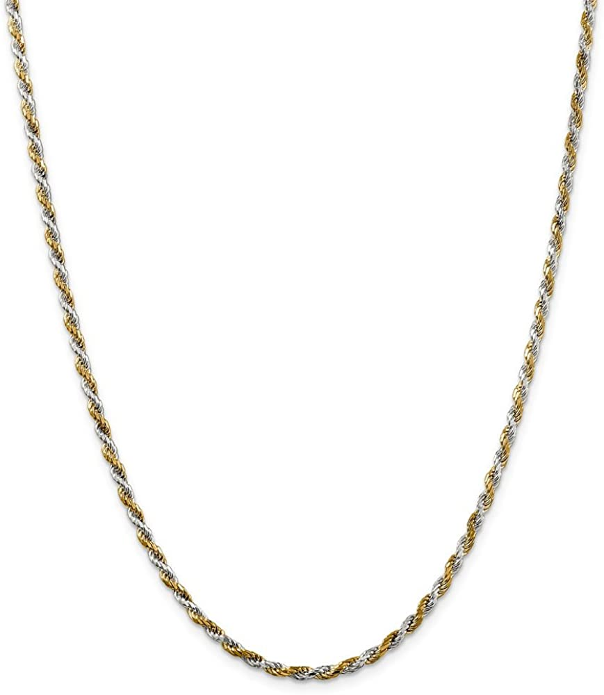 925 Sterling Silver /& Vermeil 2.5mm Diamond-cut Rope Chain Necklace Bracelet or Anklet