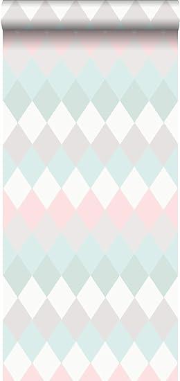 papier peint intissé éco texture impression à la craie Rhombes