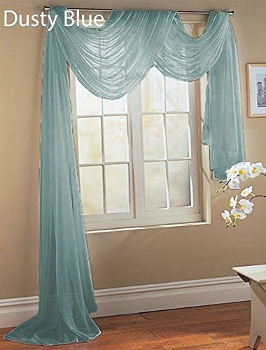 Swags Window Treatments (Gorgeous HomeDIFFERENT SOLID COLORS AND ALSOANIMAL PRINT 1PC SCARF VALANCE SOFT SHEER VOILE WINDOW TOPPER SWAG PANEL CURTAIN 216