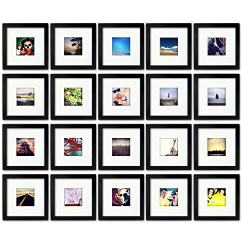 20-set, Tiny Mighty Frames - Wood, Square, Instagram, Photo Frame, 4x4 (Mat), 8x8 (20, Black)