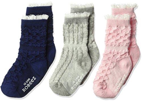 Robeez Baby Girls' 3 Pack Socks, Navy, 12-24 Months