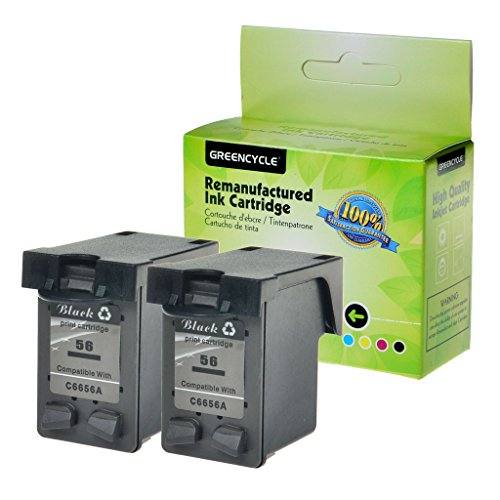 GREENCYCLE High Yield 2 Pack Remanufactured C6656AN Black Ink Cartridge Compatible with HP 56 Deskjet 5100 5145 5150 5150w 5151 5160 5168(Show Ink Level)