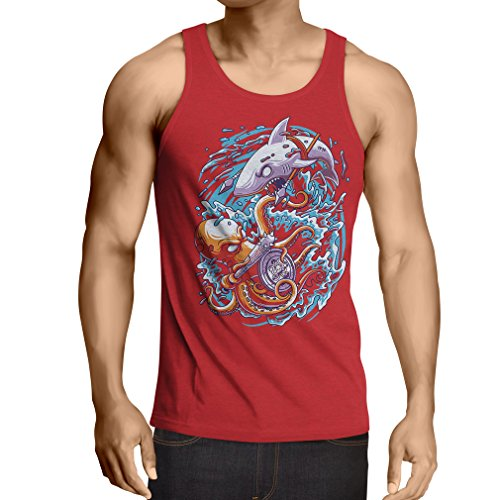 Vest Battle In The Ocean - Octopus Vs Shark - To Rule The Seas, Marine Outfits (X-Large Red Multi - Guys Nerd Ideas For Outfit