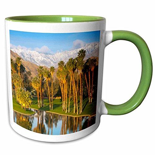 3dRose Danita Delimont - Richard Duval - Golf club - USA, California, Palm Springs. Desert Island Golf and Country Club. - 11oz Two-Tone Green Mug - Outlets Desert Springs Palm