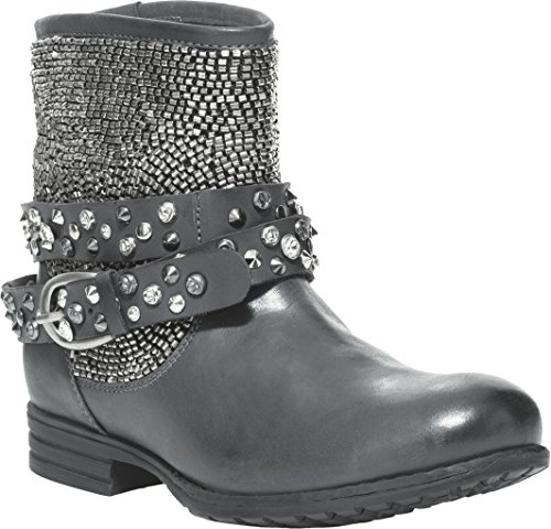 Studded Biker Boots (Cavalone Maj Women's Biker Buckle Boots with Studs, Navy Gunmetal, 37)