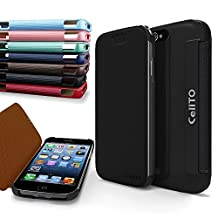 iPhone 4S Case, Cellto MOZ Sophisticated Case [Ultra Slim] Flip Cover for Apple iPhone 4S or iPhone 4 - Black