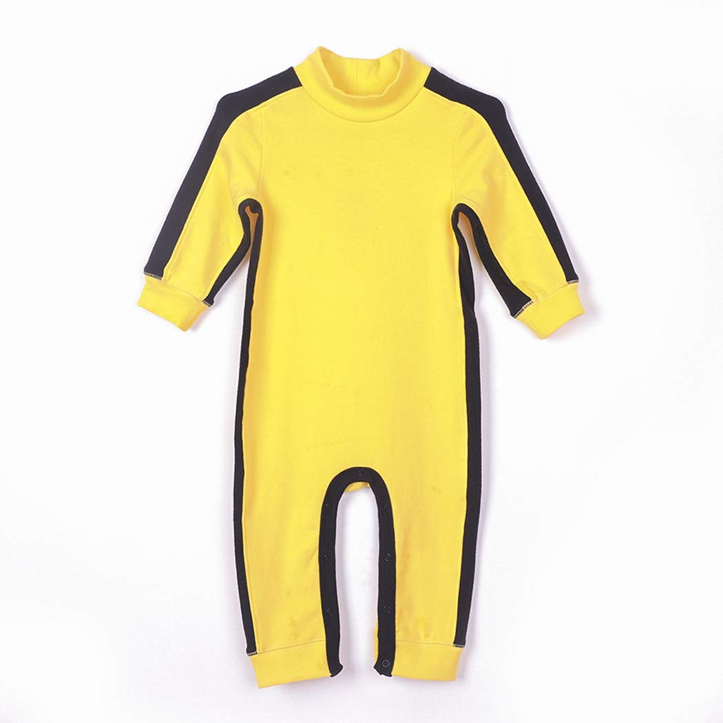 ALLAIBB Baby Boys Long Sleeve Costume Bruce Lee Cosplay Romper Cotton Jumpsuit size 12-18M Yellow