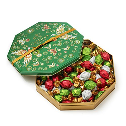 Godiva Chocolatier Limited Edition Holiday Gift Tin, Assorted Wrapped Chocolate Truffles, 50 Piece