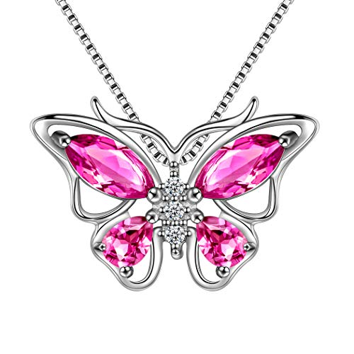 Animal Butterfly Necklace - Aurora Tears Red Butterfly Pendant Women 925 Sterling Silver July-Birthstone Ruby-Stone Crystal Butterflies Necklace Girls Animal Jewelry Girls Gift DP0013R