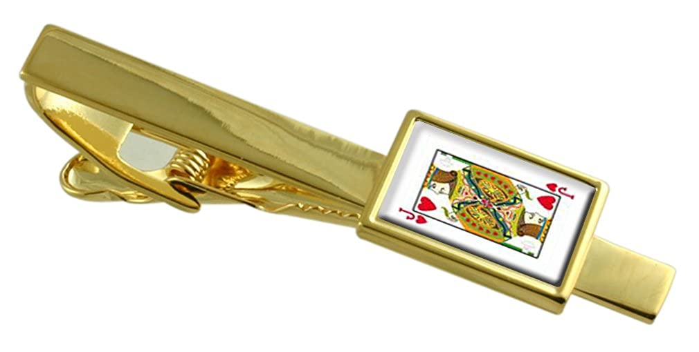 Select Gifts Heart Playing Card Jack Gold-Tone Tie Clip Engraved Message Box