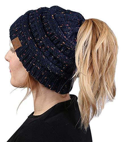 (BT-6800-3331 Messy Bun Womens Winter Knit Hat Beanie Tail - Navy (Confetti))