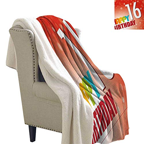 Jinguizi 16th Birthday Blanket Small Quilt New Age Celebration Theme Party Joyful Cheerful Years Cute Artful Print Heavy Sherpa Blanket 60x32 Inch Red and White ()