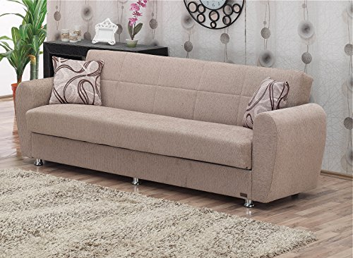 "BEYAN Colorado Collection Modern Convertible Folding Sofa Bed with Storage Space, Includes 2 Pillows, Light Brown - FUNCTIONAL DESIGN  & PRACTICAL USE: The Folding Convertible Sofa Bed Measures 87""L X 31""D X 30""H And When Folded; The Sofa Bed Expands To 45"" X 75"" Arrives with Only Minimal Assembly Required SIT, STORE & SLEEP: Comfortably Seating Three, the Convertible Sofa Bed Folds Into a Fully Flat Position Without Any Hassle Thanks to Click-Clack Technology. The Storage Space Can Be Found Underneath the Seats. STURDY CONSTRUCTION: Made From Strong Wood and Upholstered with Chenille Fabric, the Convertible Sofa Bed Also Features Coil Spring Foam and Metal Constructions Creating a Long Lasting Sofa Bed - sofas-couches, living-room-furniture, living-room - 510AqBw3g3L -"