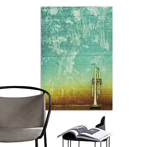 Wall Sticker self-Adhesive Music Old Aged Worn Single Trumpet Stands Alone Against a Faded Wall Jazz Theme Photo Sea Green Brown School Dormitory Classroom W8 x -