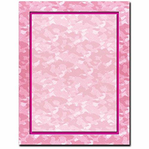 Girl Power Borders - Pink Camo Letterhead Laser & Inkjet Printer Paper, 100 pack