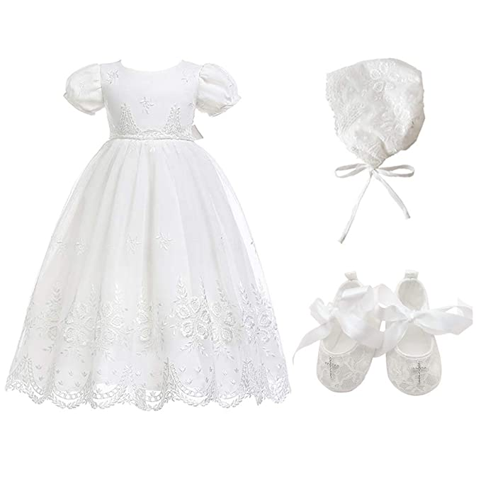 Glamulice Baby-Girls Newborn Satin Christening Baptism Floral Embroidered Dress  Gown Outfit (16- 520fc0d29650