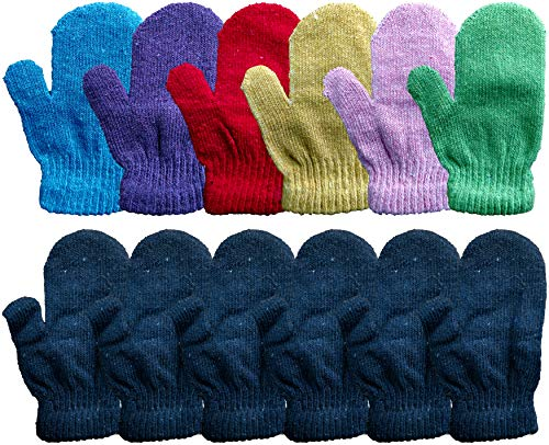 Yacht & Smith Kids Warm Winter Colorful Magic Stretch Gloves And Mittens For 2-5 Age Kids (12 Pairs Pack F)