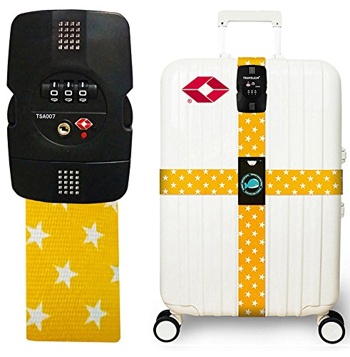 TRAVEL KIN Luggage Strap Cross Straps TSA Combination Lock Adjustable Belts Suitcase Belt - Locking Luggage Strap